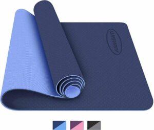 ARMENTI® Premium Yoga mat - Anti slip (extra dik) - Eco friendly Zero waste Duurzaam - TPE - Fitness mat - Sport mat - Blauw - Met opbergkoord - Moederdag cadeau