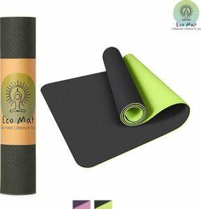 Eco Yoga Mat - Inclusief Draagriem - Anti Slip - Extra Dik (6 mm) - 61 x 183 x 0,6 cm - Zwart-Groen - Diverse kleuren